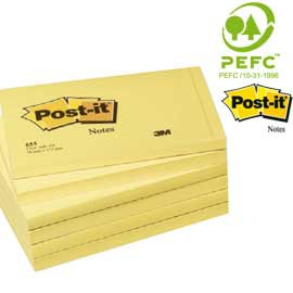 BLOCCO 100fg Post-it®Giallo Canary 76x127mm 655 - conf. 12