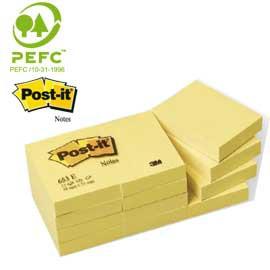 BLOCCO 100fg Post-it®Giallo Canary 38x51mm 653 - conf. 12