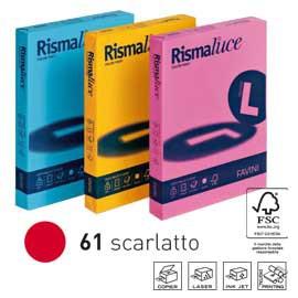 Carta RISMALUCE 140gr A4 200fg rosso scarlatto 61 FAVINI - conf. 1