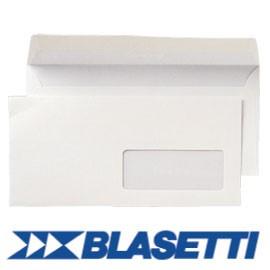 500 BUSTE BIANCHE 110X230MM 90GR C/FINESTRA SUPERSTRIP BLASETTI - conf. 1