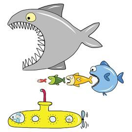 ADESIVI MURALI REMOVIBILI - BIG FISH EAT Y SUBMARINE - SIZE XL 68x98 WALLSKIN - conf. 1