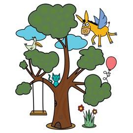 ADESIVI MURALI REMOVIBILI - A VERY MAGIC TREE - SIZE L 48x68 WALLSKIN - conf. 1