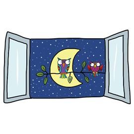 ADESIVI MURALI REMOVIBILI - NIGHT VIEW - SIZE M 33,5x42 WALLSKIN - conf. 1