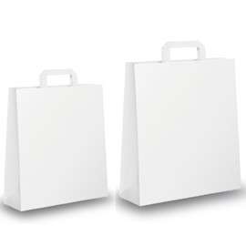 BLISTER 25 SHOPPERS 18X8X25CM BIANCO NEUTRO PIATTINA - conf. 1