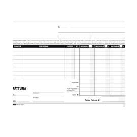 BLOCCO FATTURE 3 ALIQUOTE IVA 2COPIE 50FOGLI AUTORIC. 15X23 E5289A - conf. 1