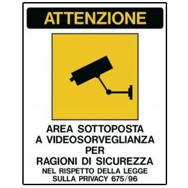 CARTELLO ADESIVO 20X30CM 'AREA SOTTOPOSTA A VIDEOSORVEGLIANZA' - conf. 1
