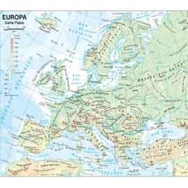 CARTA GEOGRAFICA SCOLASTICA PLASTIFICATA EUROPA 297X420MM BELLETTI - conf. 20