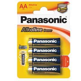 BLISTER 4 PILE STILO ALKALINE AA 1,5V PANASONIC - conf. 1