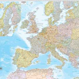 CARTA GEOGRAFICA MURALE EUROPA 132X99CM BELLETTI - conf. 1
