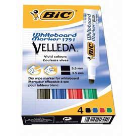Astuccio pennarello VELLEDA 1791 punta scalpello whiteboard 4 colori BIC® - conf. 1