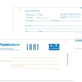 100 CARTOLINE DI RITORNO RACCOMANDATA 10X20CM C/ADES.RIMOV. E0622/1 - conf. 1