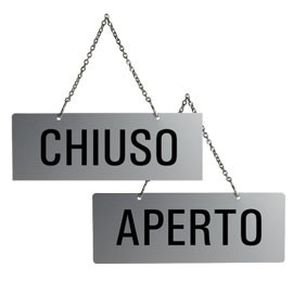 CARTELLO APERTO/CHIUSO 17,5X6,5cm CON CATENELLA - conf. 1