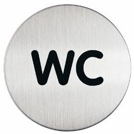 PITTOGRAMMA Ø 8,3cm 'WC' IN ACCIAIO - conf. 1