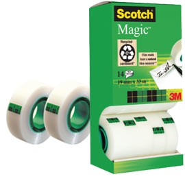 MULTI-PACK 12+2 ROTOLI SFUSI DI NASTRO SCOTCH MAGIC 810 PERM. 19MMX33MT - conf. 1