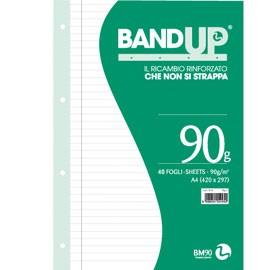 RICAMBI FORATI RINFORZATI BANDUP A4 90gr 40fg 1rigo c/margine BM - conf. 1