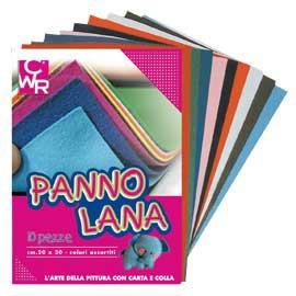 10 PEZZE PANNO LANA 20x30cm colori assortiti CWR - conf. 1