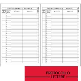 REGISTRO PROTOCOLLO LETTERE RICEVUTE-SPEDITE 21x31cm 100fg BM - conf. 1