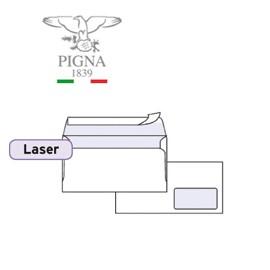 500 BUSTE BIANCHE 110x230mm C/FINESTRA 90GR stampa laser EDERA STRIP PIGNA - conf. 1