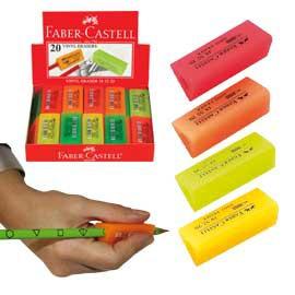 GOMMA per matita PRISMA FLUO impugnabile in vinile FABER CASTELL - conf. 20