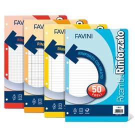 Ricambi forati A4 80gr 50fg 5mm c/margine RINFORZO COLORATO FAVINI - conf. 1