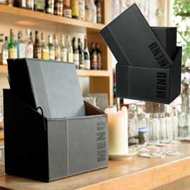 MENU-Box TRENDY con 20 PORTA MENU' NERO - conf. 1