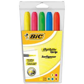 BUSTA 5 EVIDENZIATORI COL. ASSORTITI Highlighter Grip Bic - conf. 1