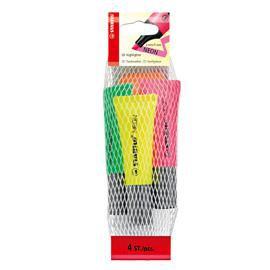 Busta da 4 evidenziatore STABILO NEON colori assortiti 72/24 - conf. 1